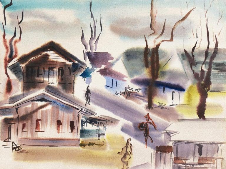 Dora Masters Abstract Painting - 'Old Carmel Village', 1950's Woman Artist, San Francisco Bay Area, SFAA