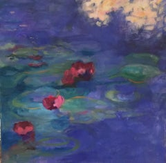Waterlilies on Blue Water 30 x 30