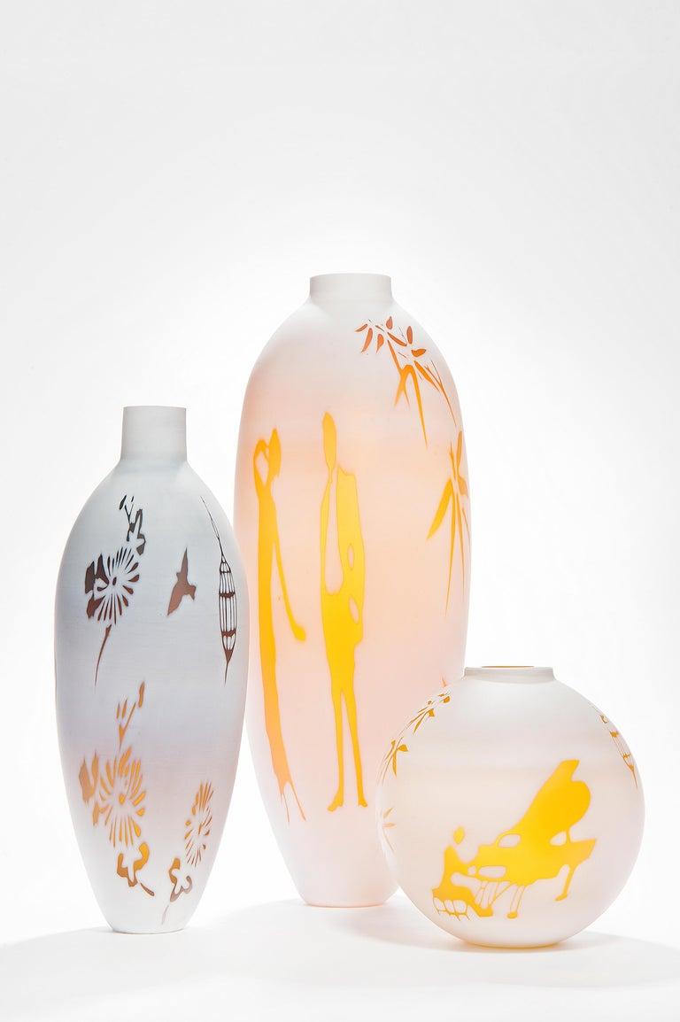 Dorchester Cameo Vase, a glass artwork in alabaster & gold by Sarah Wiberley For Sale 4