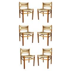 """Dordogne"" Charlotte Perriand by Robert Sentou Design 1960 Wicker Six Chairs"