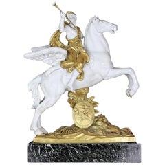Dore Bronze and Bisque Equestrian Figure