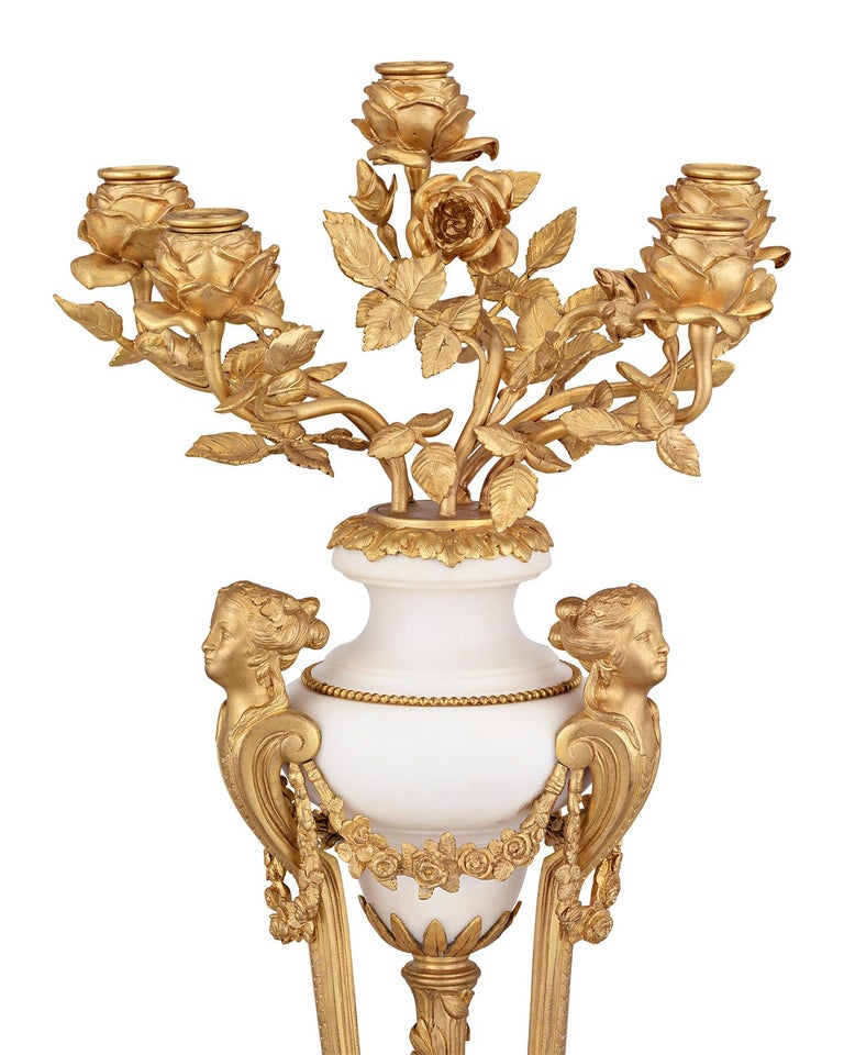 Doré Bronze French Neoclassical Candelabra In Excellent Condition For Sale In New Orleans, LA