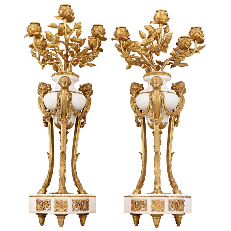 Doré Bronze French Neoclassical Candelabra For Sale