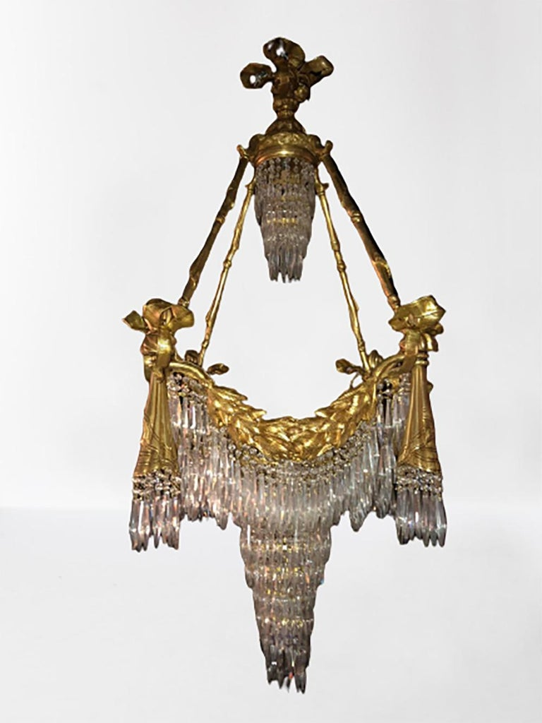 Doré Bronze Louis XVI Style Crystal Ribbon Tassel Drapery Chandelier In Good Condition For Sale In Stamford, CT