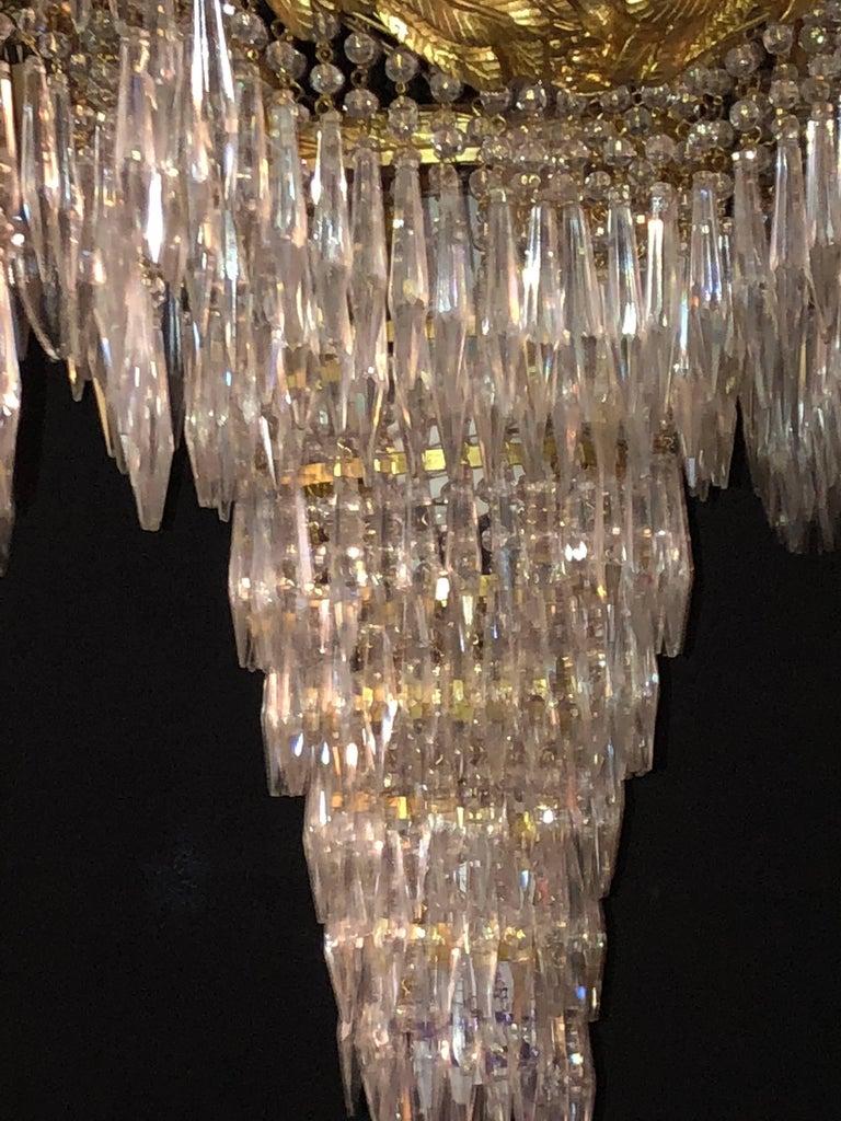 Doré Bronze Louis XVI Style Crystal Ribbon Tassel Drapery Chandelier For Sale 1