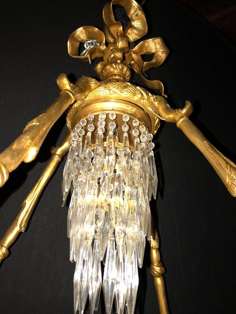 Doré Bronze Louis XVI Style Crystal Ribbon Tassel Drapery Chandelier For Sale 2