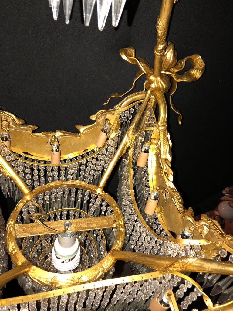Doré Bronze Louis XVI Style Crystal Ribbon Tassel Drapery Chandelier For Sale 3