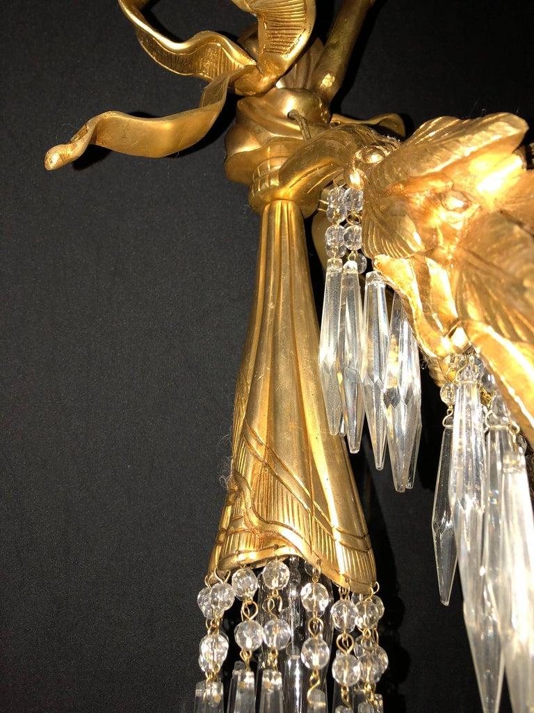 Doré Bronze Louis XVI Style Crystal Ribbon Tassel Drapery Chandelier For Sale 4