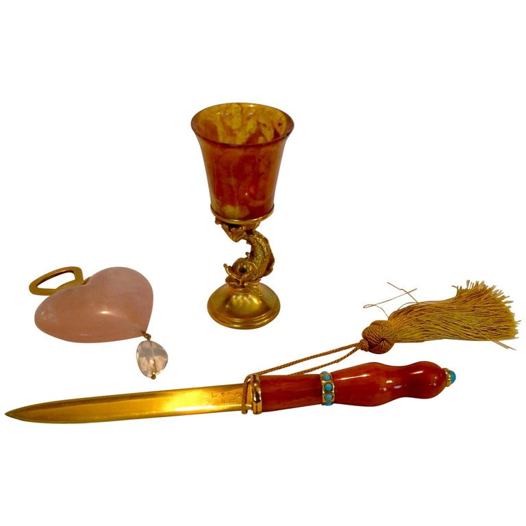 Doré Letter Opener and 2 Additional Accessories by Ira Von Furstenberg For Sale