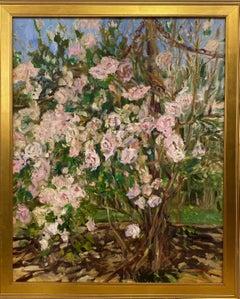 Cascading Roses, original 30x24 contemporary impressionist floral landscape