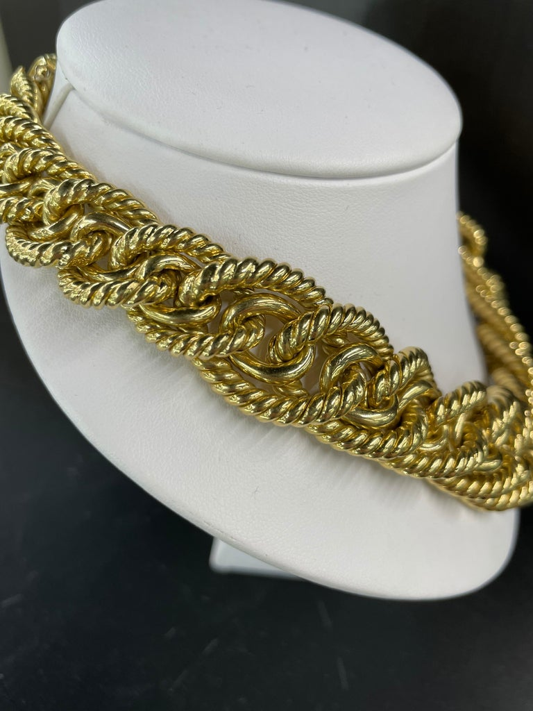 Dorfman 18 Karat Yellow Gold Graduated Link Rope Necklace 162.4 Grams Italy For Sale 2