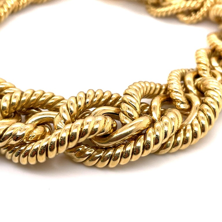 Dorfman 18 Karat Yellow Gold Graduated Link Rope Necklace 162.4 Grams Italy For Sale 3