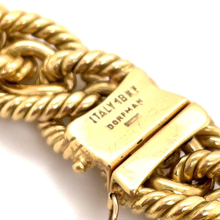 Dorfman 18 Karat Yellow Gold Graduated Link Rope Necklace 162.4 Grams Italy For Sale 4