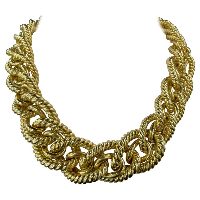 Dorfman 18 Karat Yellow Gold Graduated Link Rope Necklace 162.4 Grams Italy For Sale