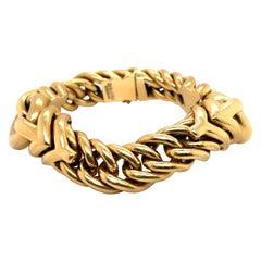 Dorfman 18 Karat Yellow Gold Link Bracelet 78.6 Grams Made in Italy