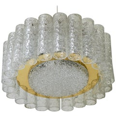 Doria Brass and Glass Tube Ice Glass Flush Mount Chandelier, Germany