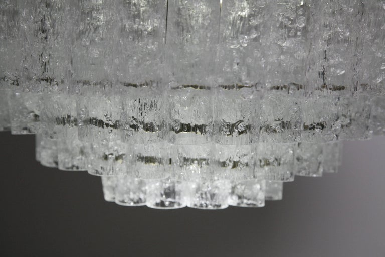 German Doria Chandelier Brass or Metal Frame, Tube Glass, 1960s For Sale