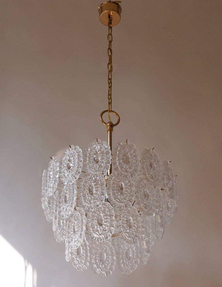 two chandelier in brass and glass. Germany.  Diameter 42 cm. Height fixture 30 cm.