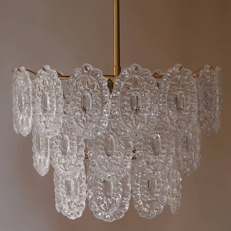Mid-Century Modern Two Doria Glass Chandeliers For Sale