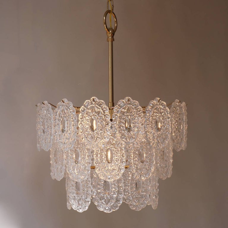 German Two Doria Glass Chandeliers For Sale