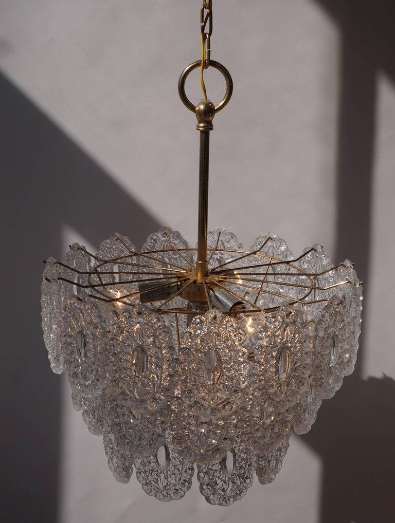 Brass Two Doria Glass Chandeliers For Sale