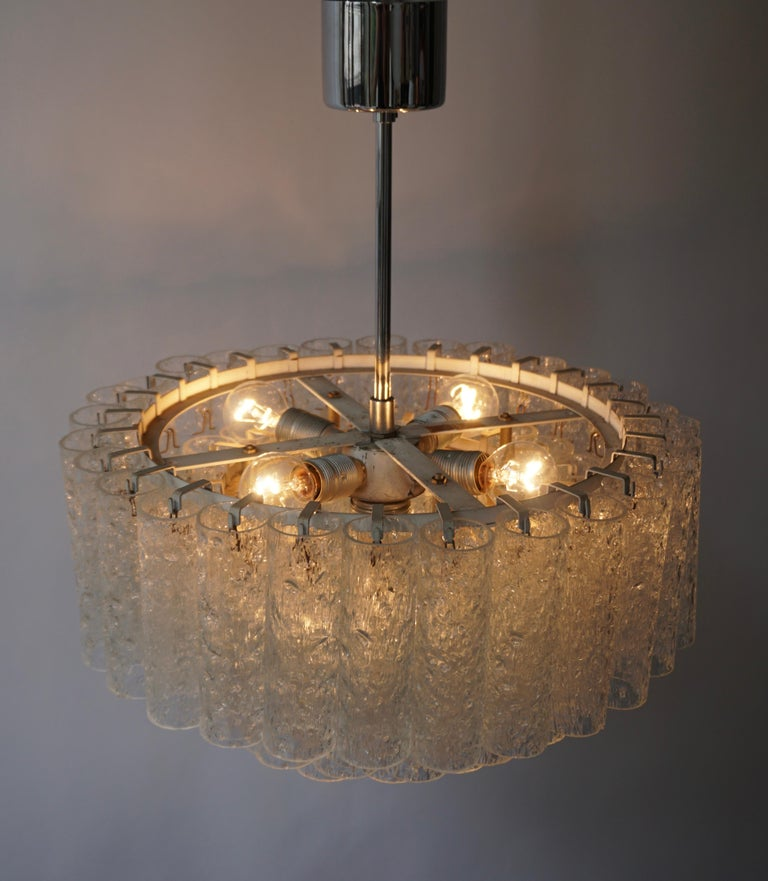 Doria Glass Tube Chandelier, 1960s, Germany For Sale 4