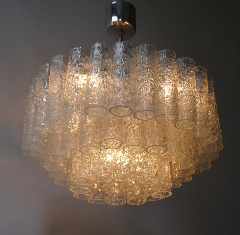 Doria Glass Tube Chandelier, 1960s, Germany For Sale 6
