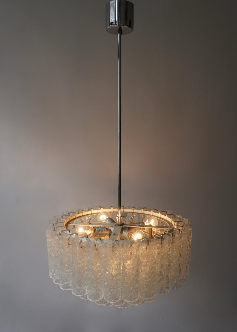 Doria Glass Tube Chandelier, 1960s, Germany For Sale 7