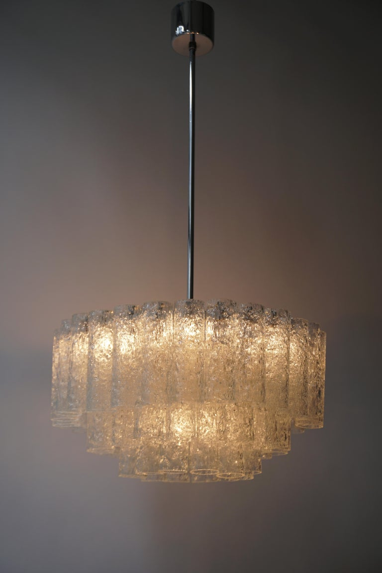 Mid-Century Modern Doria Glass Tube Chandelier, 1960s, Germany For Sale