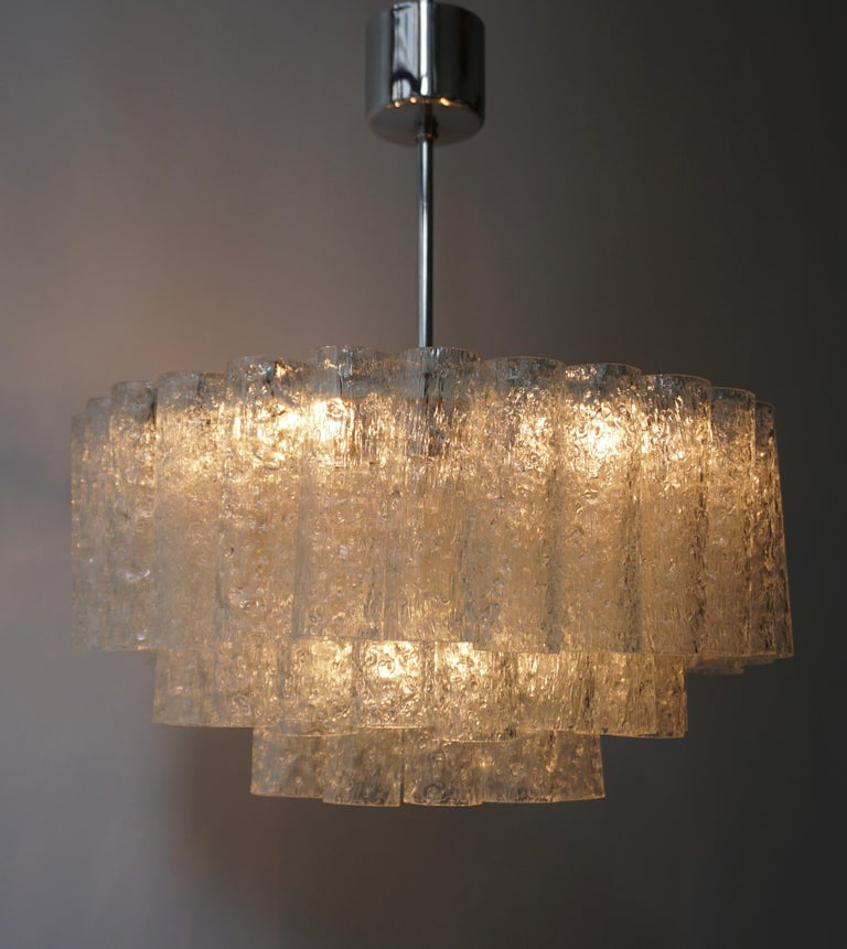 Doria Glass Tube Chandelier, 1960s, Germany In Good Condition For Sale In Antwerp, BE