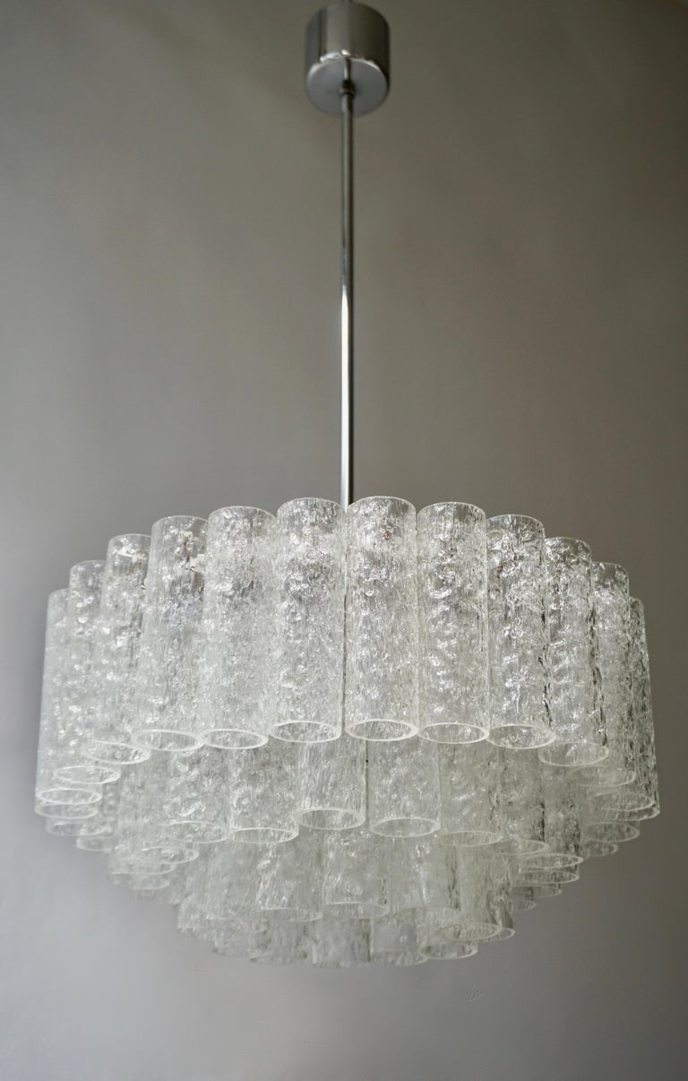 20th Century Doria Glass Tube Chandelier, 1960s, Germany For Sale