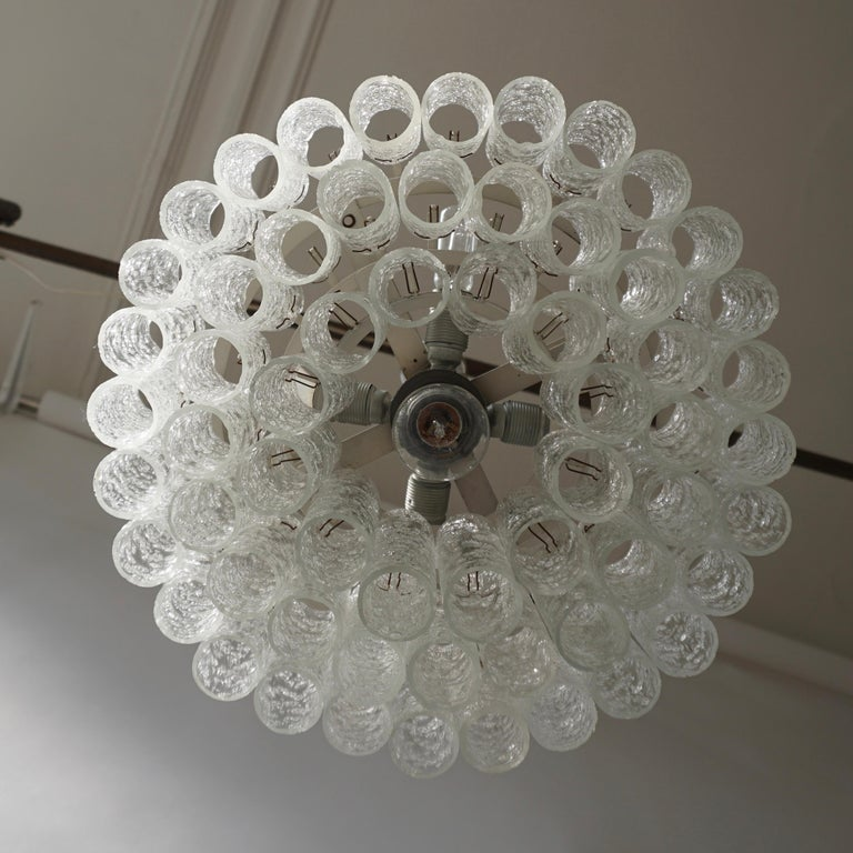 Metal Doria Glass Tube Chandelier, 1960s, Germany For Sale