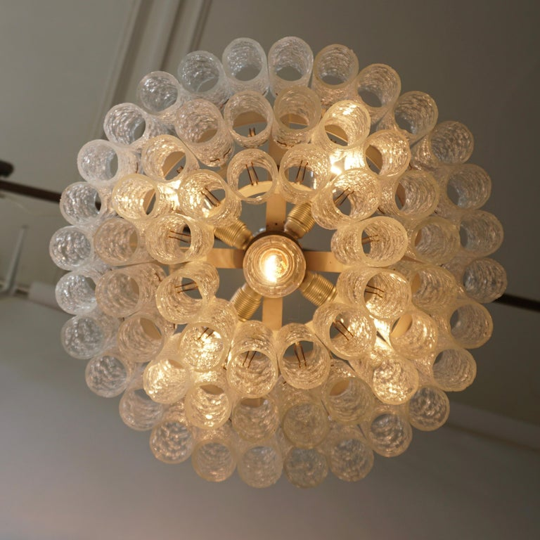 Doria Glass Tube Chandelier, 1960s, Germany For Sale 1