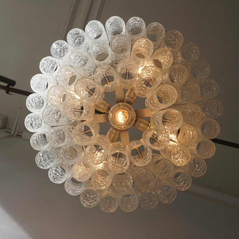 Doria Glass Tube Chandelier, 1960s, Germany For Sale 2