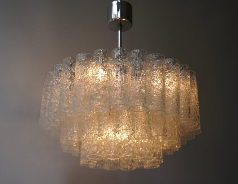 Doria Glass Tube Chandelier, 1960s, Germany For Sale 3