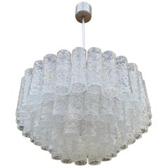 Doria Glass Tube Chandelier, 1960s, Germany