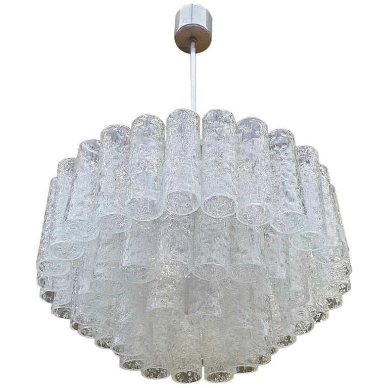 Doria Glass Tube Chandelier, 1960s, Germany For Sale
