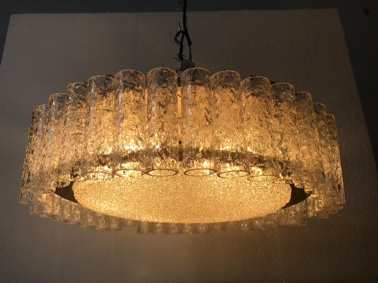 Mid-20th Century Doria Large Crystal Ice Glass Flush Mount, circa 1960s For Sale