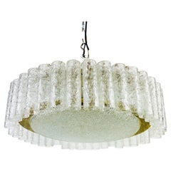 Doria Large Crystal Ice Glass Flush Mount, circa 1960s