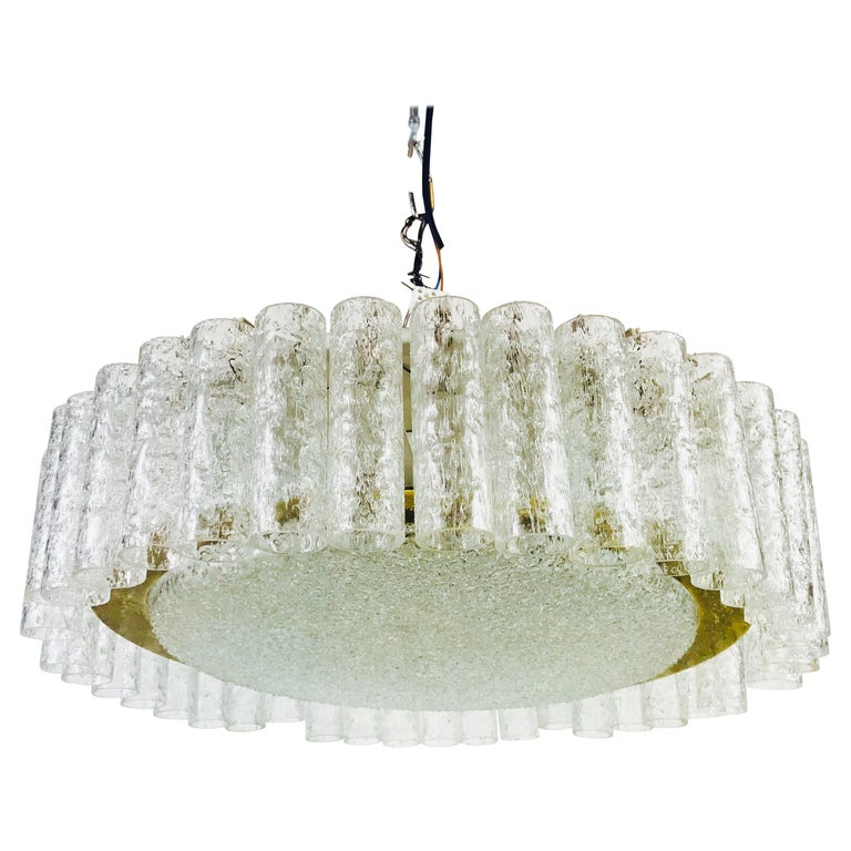 Doria Large Crystal Ice Glass Flush Mount, circa 1960s For Sale