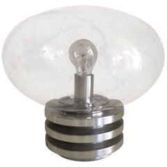 Doria Leuchten Germany Space Age Table Lamp with Handblown Bubbleglass
