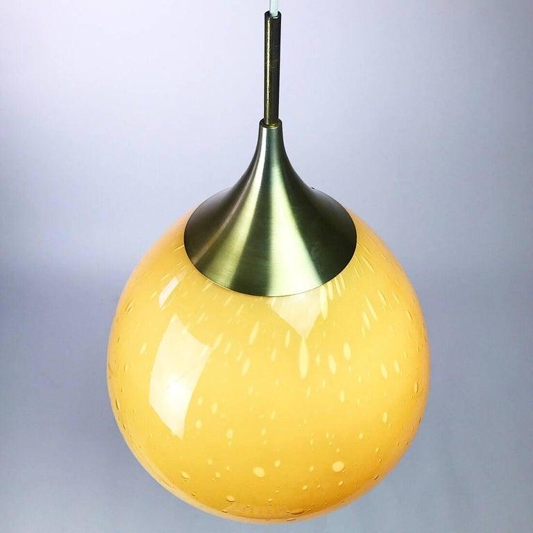 Brass Doria Leuchten Glass Ceiling Pendant, 1960s For Sale
