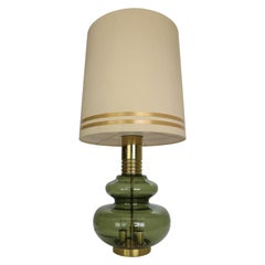 Doria Leuchten Green Glass & Brass Details Table Lamp, 1960's