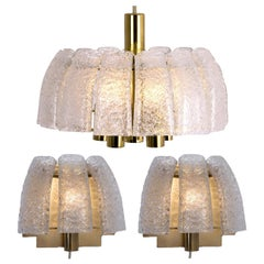 Doria Light Fixtures, One Chandelier and Two Wall Sconces