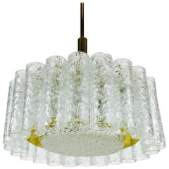 Doria Midcentury Crystal Ice Glass Circular Chandelier, 1960s