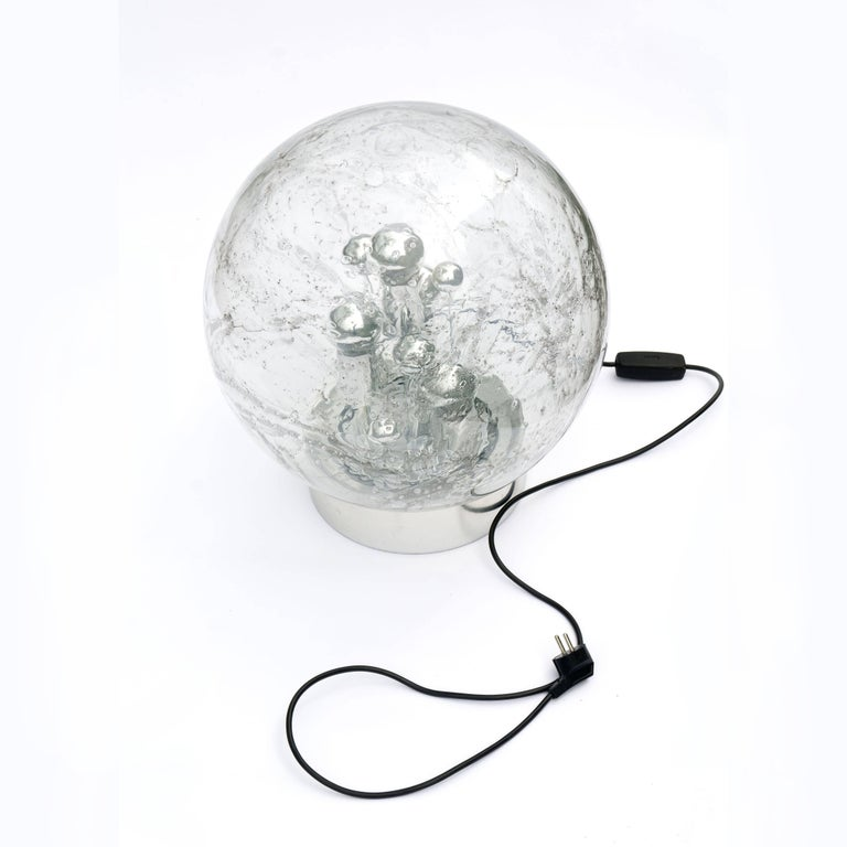German Doria Table or Floor Lamp Chrome Large Smoked Bubble Glass Globe, 1970s For Sale