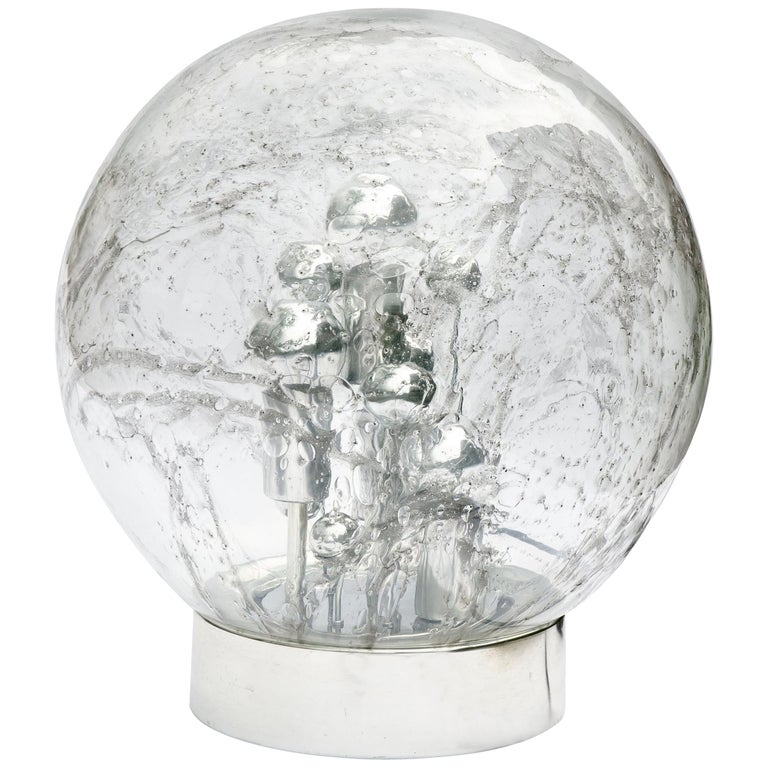 Doria Table or Floor Lamp Chrome Large Smoked Bubble Glass Globe, 1970s For Sale