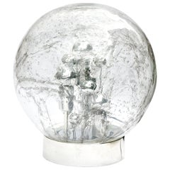 Doria Table or Floor Lamp Chrome Large Smoked Bubble Glass Globe, 1970s