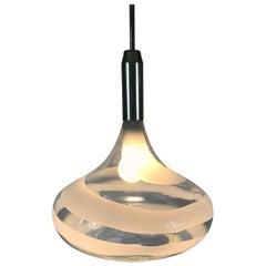 Doria White and Transparent Pendant Lamp, 1970s