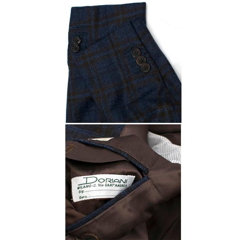 Doriani Navy Checked Wool, Cashmere & Silk Blend Blazer - Size XL EU 54  For Sale 5